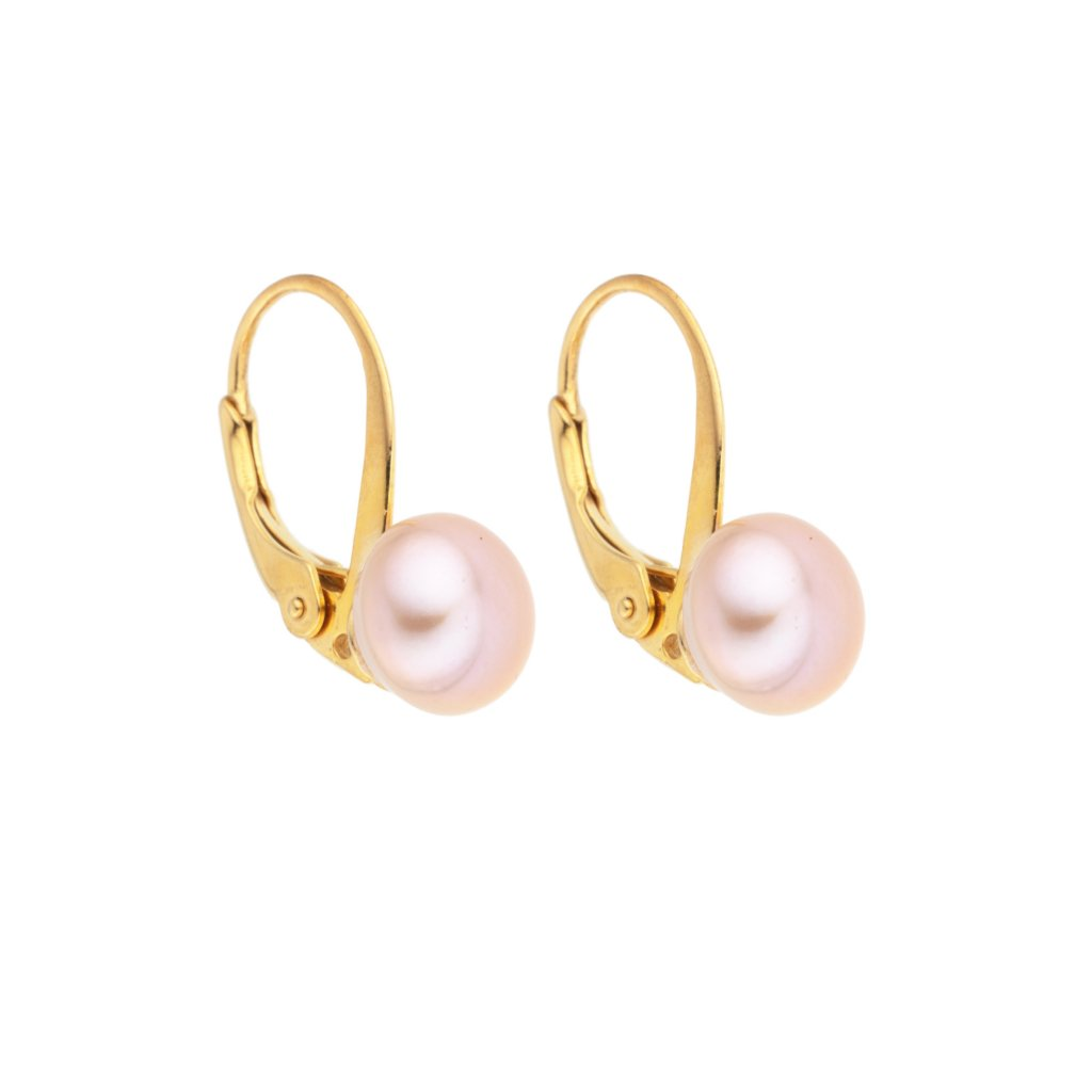 Pozlacené perlové náušnice EMMA perla AA růžová EM312 Perlomanie