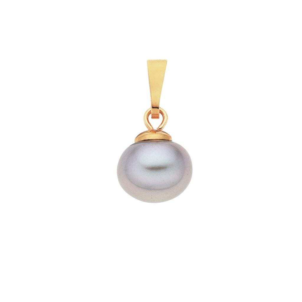 Pozlacený přívěsek LENA perla AA šedá LE800 Perlomanie