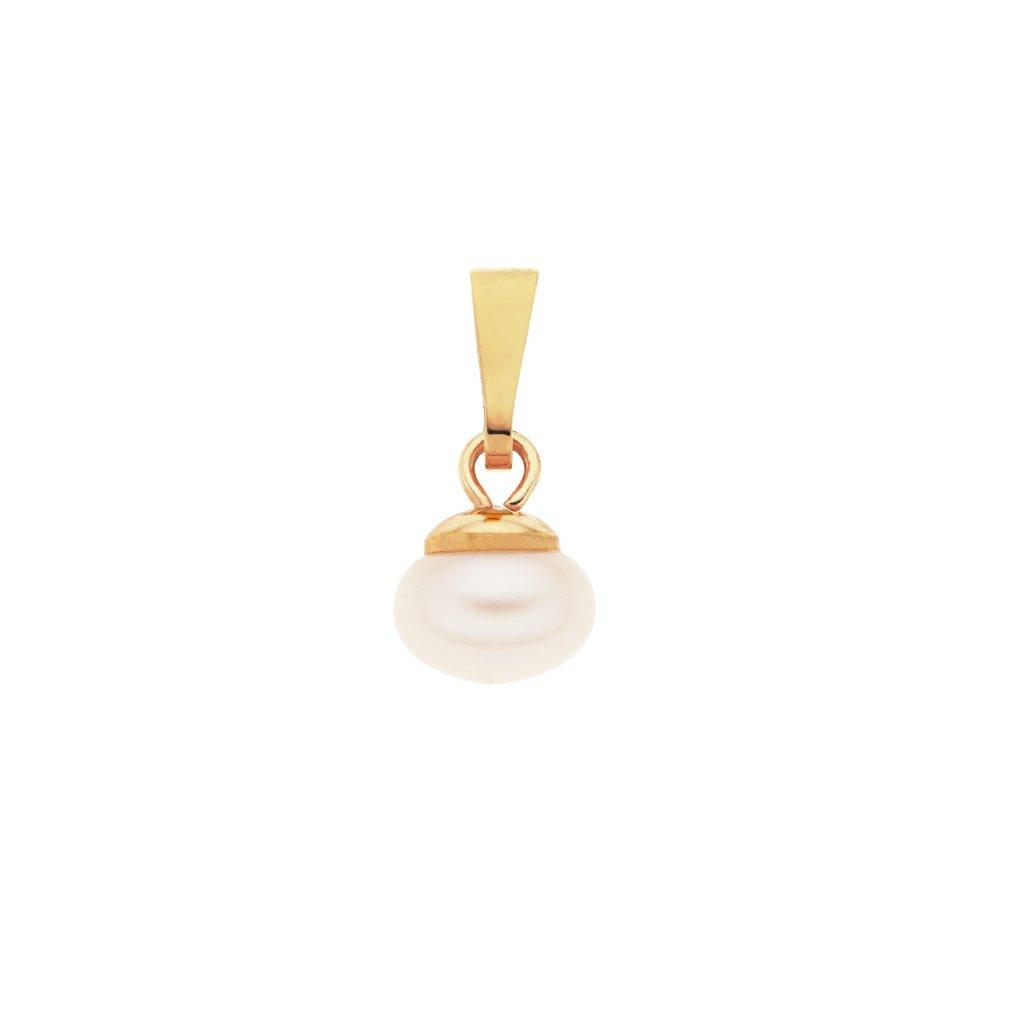 Pozlacený přívěsek LENA perla AA bílá LE801, Perlomanie