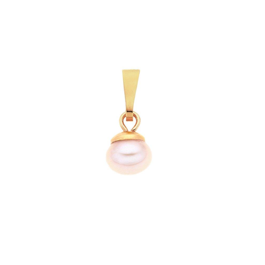 Pozlacený přívěsek LENA perla AA růžová LE803, Perlomanie
