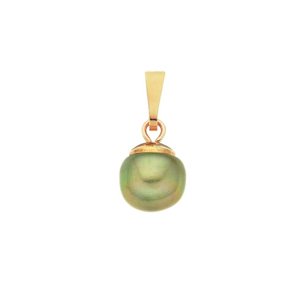 Pozlacený přívěsek perla AA zelená LE820, Perlomanie