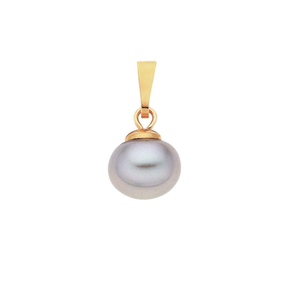 Pozlacený přívěsek perla AA šedá LE832