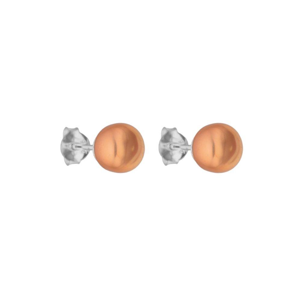 Náušnice pecky s oranžovou perlou, stříbro, Perlomanie