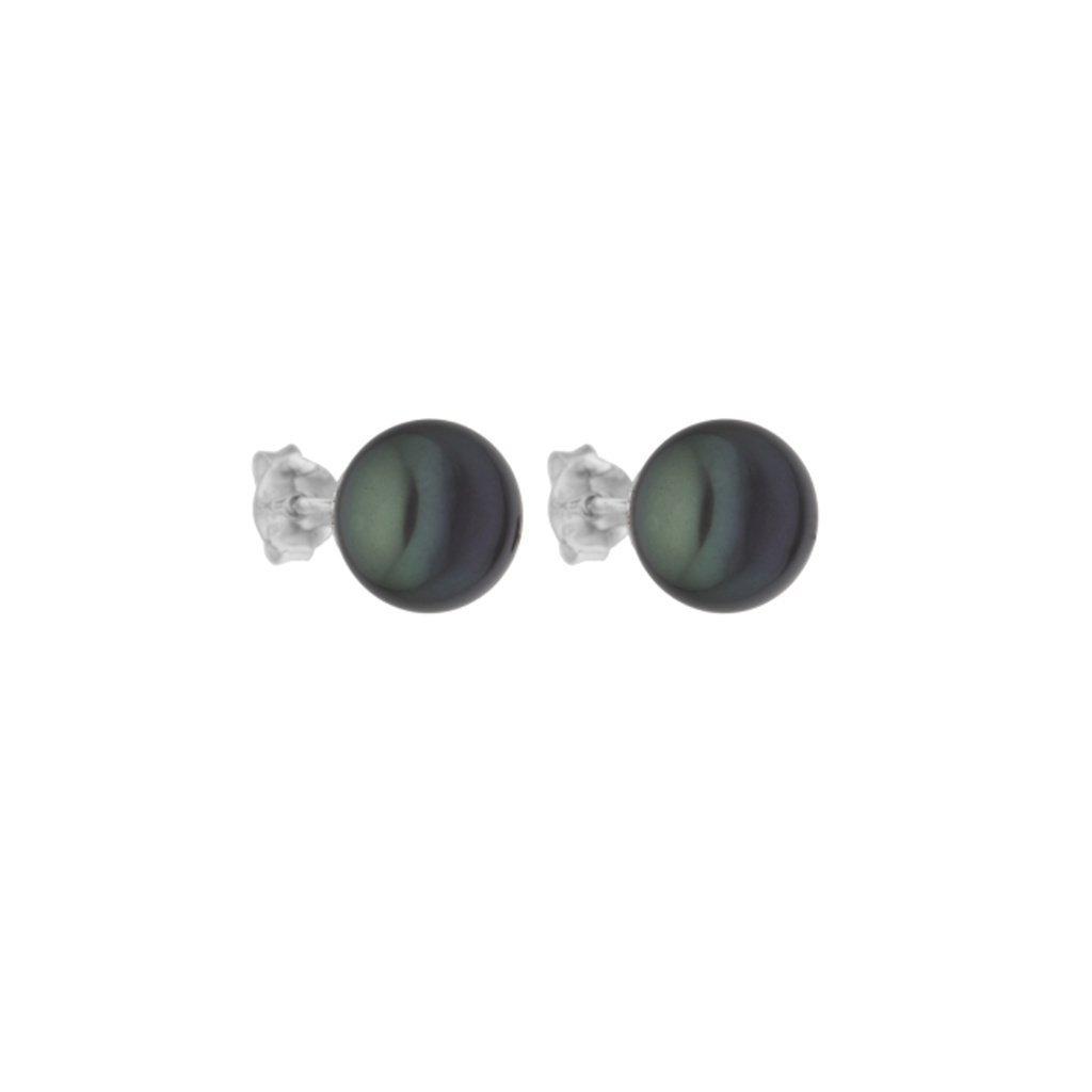 Perlové náušnice perla AA tmavě zelená AD120