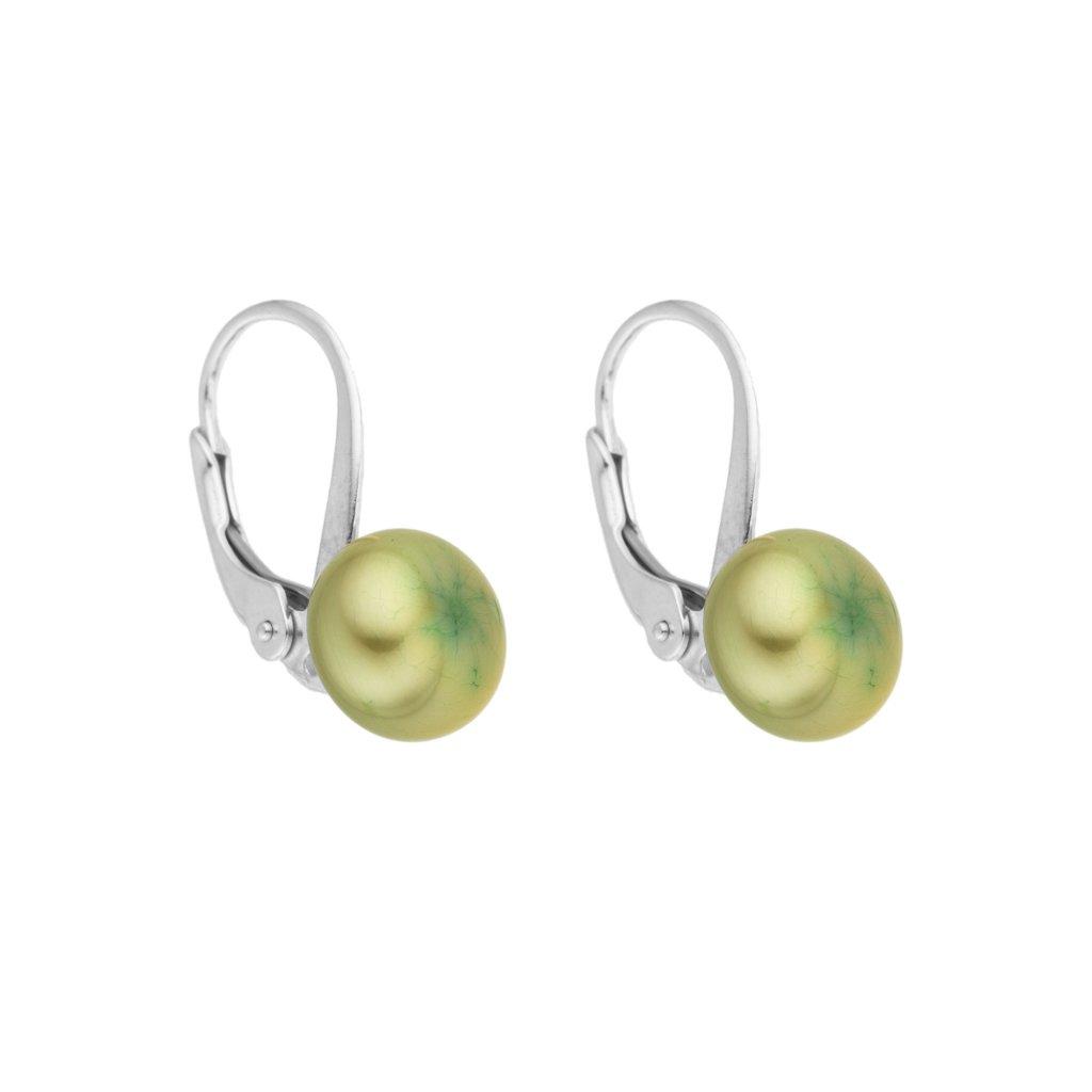 Perlové náušnice EMMA perla AA velká zelená EM320 Perlomanie