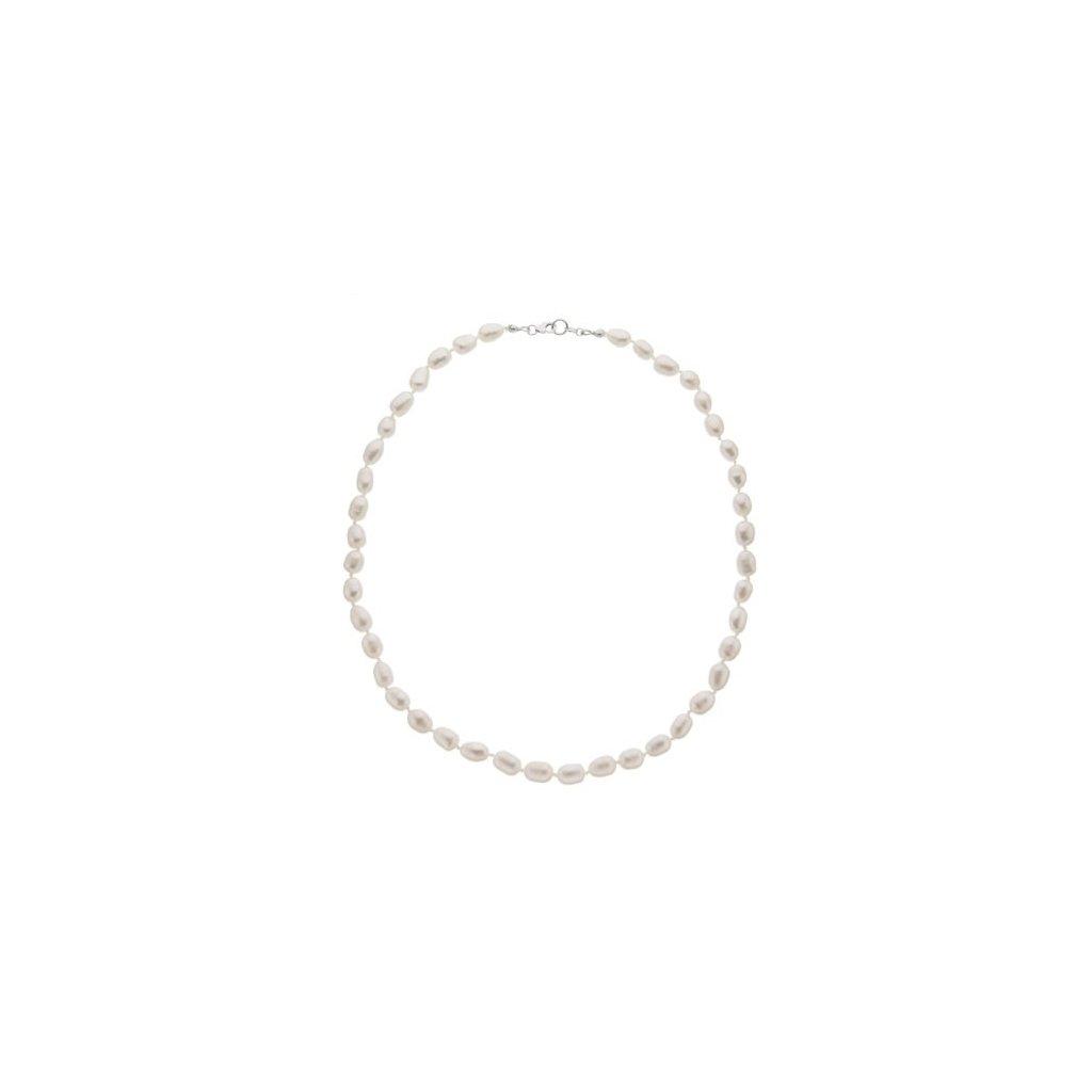 Stříbrný náhrdelník perly bílé oválné SP745, délka 48 cm