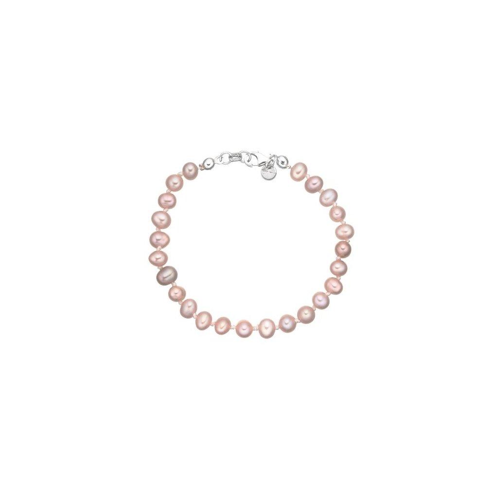 Stříbrný náramek perly AA růžové AP4500