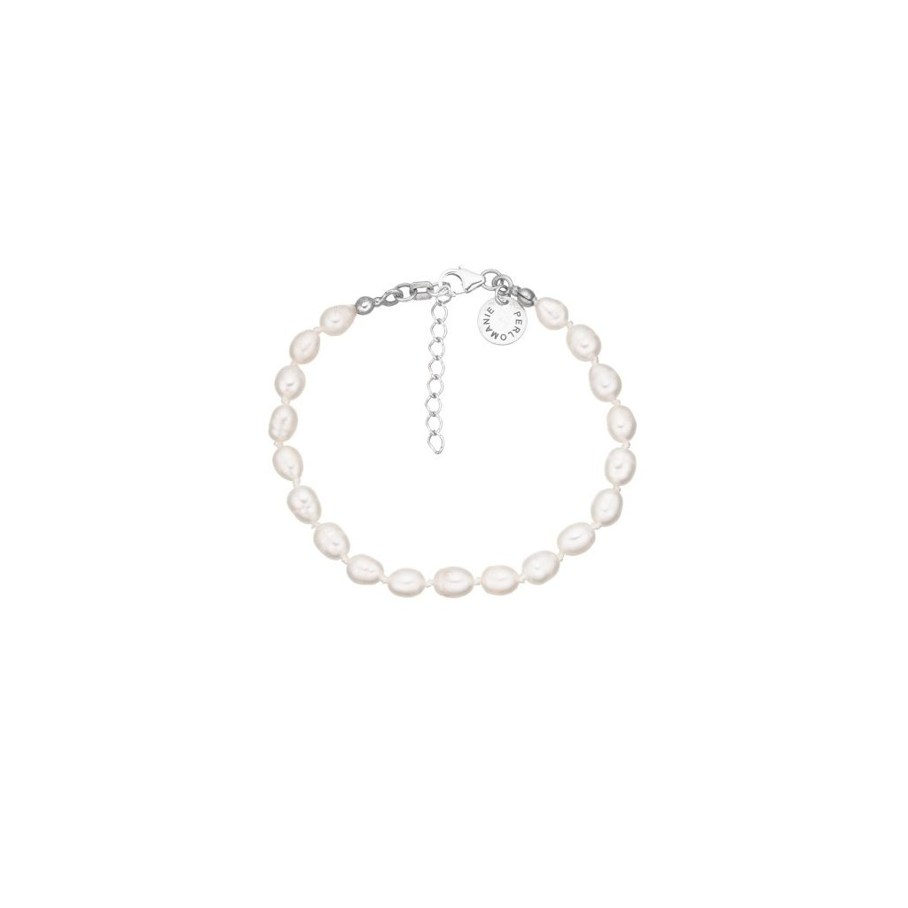 Stříbrný náramek perly bílé AP4501
