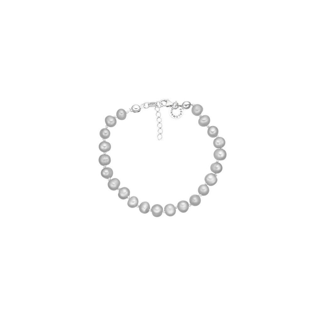Stříbrný náramek perly AA šedé AP4503