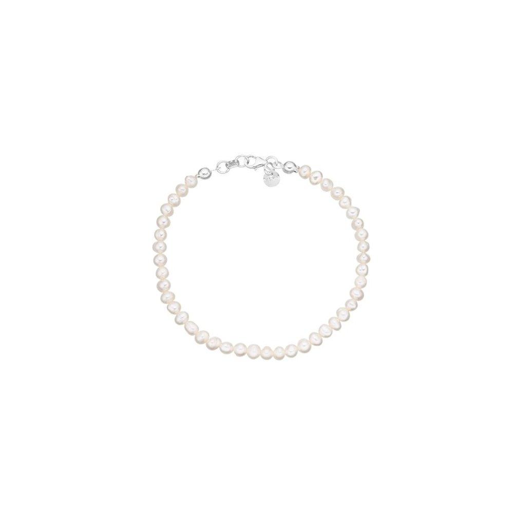 Stříbrný náramek perly bílé AP4508 velikost perel 4 mm