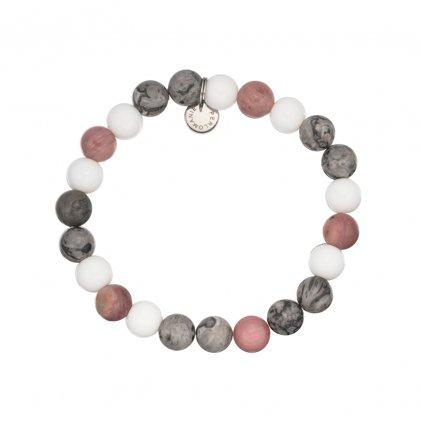 naramek z mineralnich kamenu rorochrozit, jaspis, perlet MN12035, Perlomanie