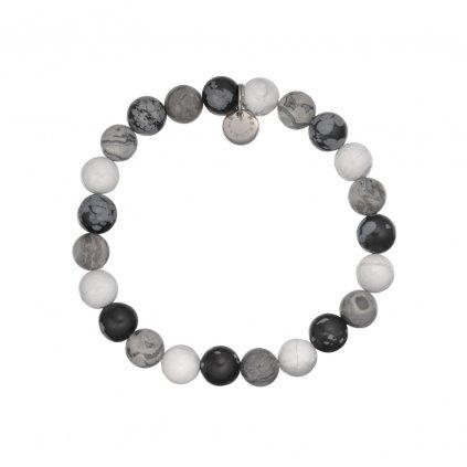 naramek z mineralu vlockovy obsidian, sedy jaspis, bily howlit MN12042 Perlomanie