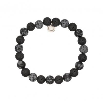 naramek z mineralnich kamenu lava a vlockovy obsidian MN12043, Perlomanie
