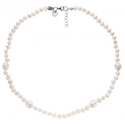 Náhrdelník perly bílé uzlíkované BE119, délka 42 - 45 cm, Perlomanie