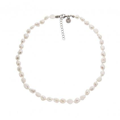 Náhrdelník perly bílé barokní uzlíkované BE120, délka 50 - 54 cm, Perlomanie