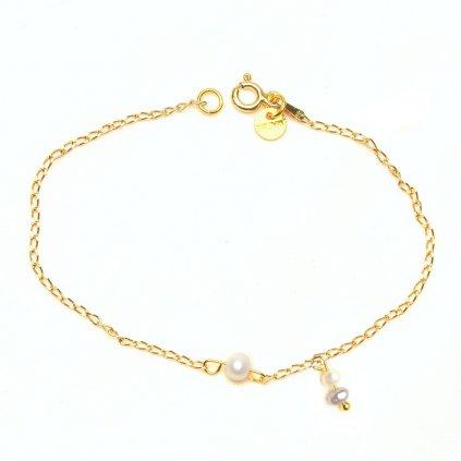 zlaceny minimalisticky naramek s bilou perlou unique UN10220 Perlomanie