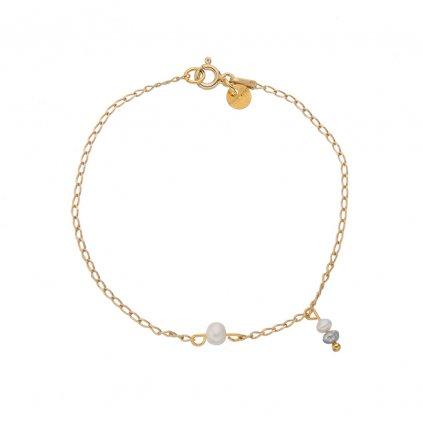minimalisticky naramek zlaceny ruzovym zlatem s bilou perlou a perlovym priveskem Unique UN10233 Perlomanie