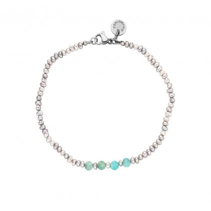 Jemný náramek amazonit a šedé perly LI4020