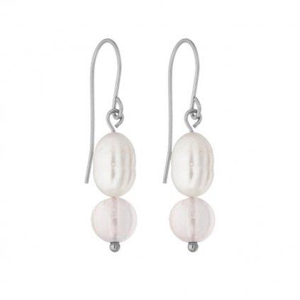 Perlové náušnice bílé perly a růženín SP6246