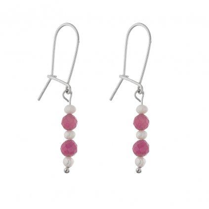 Jemné náušnice s bílými perlami a růžovými turmalíny, Perlomanie