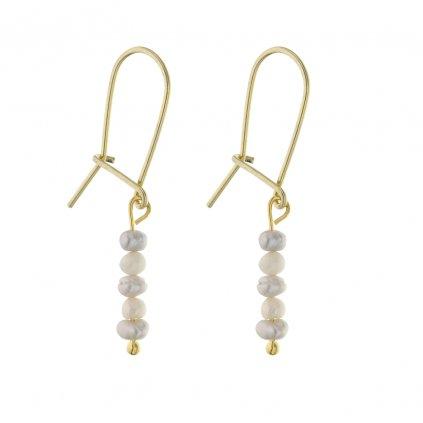 Jemné visací náušnice s bílými a šedými perlami, Perloamanie