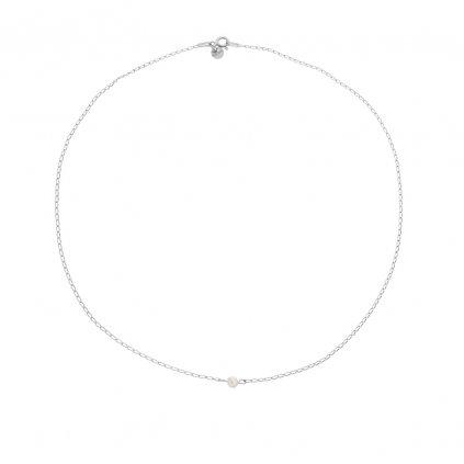jemny minimalisticky stribrny nahrdelnik s bilou perlou, perlomanie