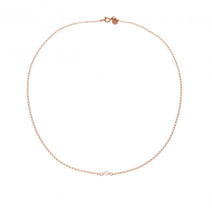 nahrdelnik rosegold zlaceny ruzovym zlatem s bilou perlou, Perlomanie