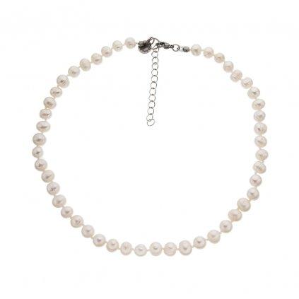 Uzlíkovaný náhrdelník perly bílé BE128, délka 40 - 45 cm, Perlomanie