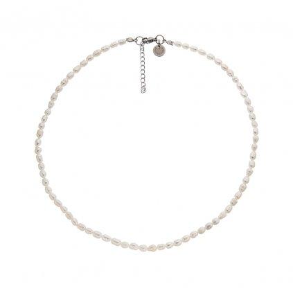 Náhrdelník perly bílé oválné BE129, délka 42 - 45 cm, Perlomanie