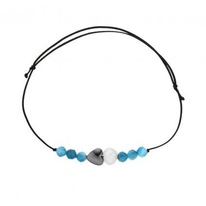 Náramek na šňůrce srdce a bílá perla s apatitem, černá šňůrka S13002