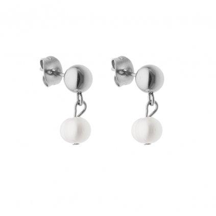 Náušnice pecky bílá perla SP6511 Perlomanie