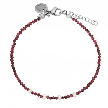 Jemný náramek broušené granáty a bílé perly, Perlomanie