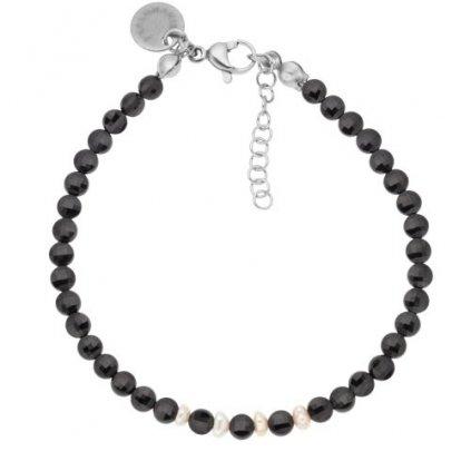Jemný náramek černý spinel a perly LI40121