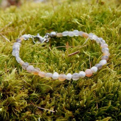 Jemný náramek sluneční kámen a perly LI40122