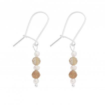 Stříbrné perlové náušnice s broušeným slunečním kamenem Unique UN10305 Perlomanie