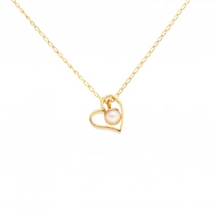 zlaceny nahrdelnik srdce s bilou perlou, Perlomanie