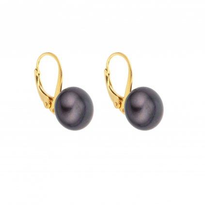 Pozlacené perlové náušnice EMMA velká perla AA černá EM324 Perlomanie