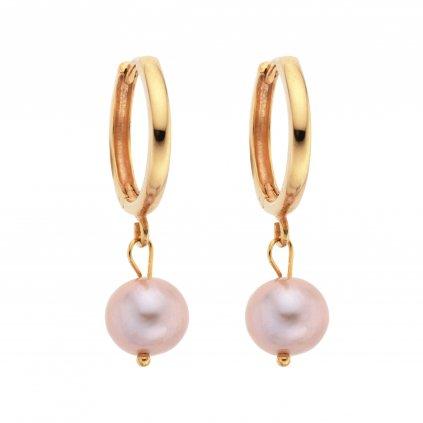 Náušnice kruhy s velkými růžovými perlami zlacené stříbro, Perlomanie