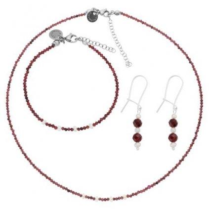 Jemná souprava granát a bílé perly LI403001, Perlomanie