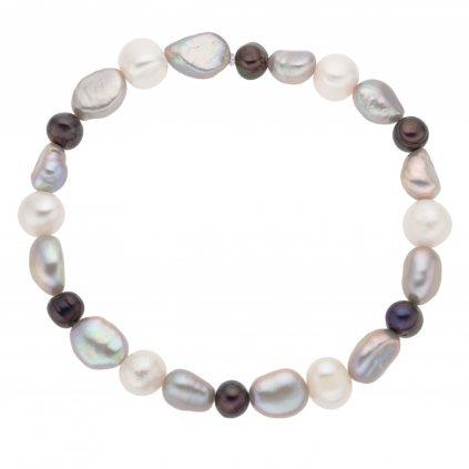 Perlový náramek s bílými, šedými a černými perlami na gumičce MN12514, Perlomanie