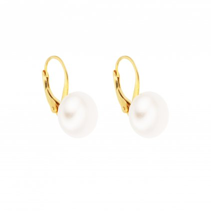 Pozlacené perlové náušnice EMMA velká perla AA bílá EM326 Perlomanie