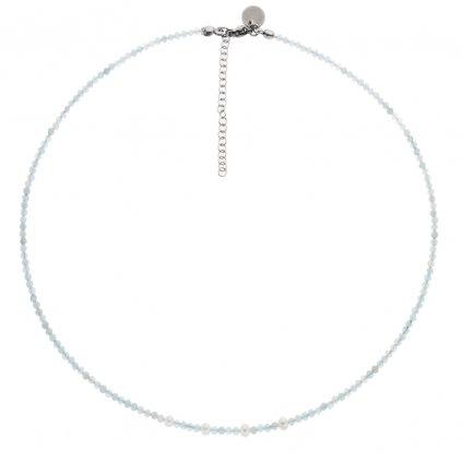 Jemný minimalistický náhrdelník akvamarín a bílé perly, Perlomanie