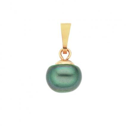 Pozlacený přívěsek perla AA zelená LE821 Perlomanie
