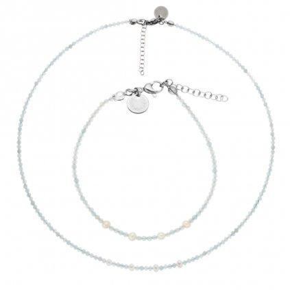 Jemná souprava akvamarín a bílé perly LI403012, Perlomanie