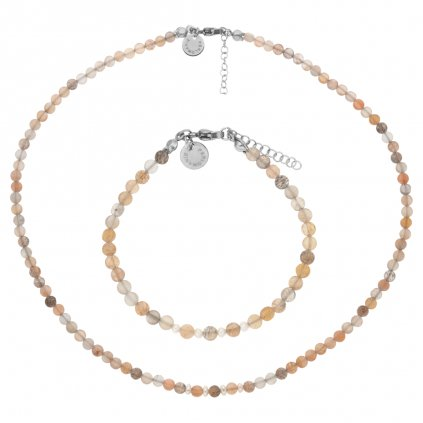 Jemná souprava sluneční kámen a bílé perly LI403014