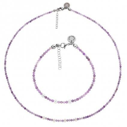 Jemná souprava ametyst a bílé perly LI403013, Perlomanie