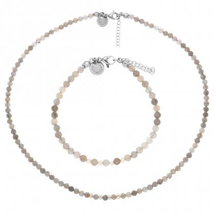 Jemná souprava labradorit a bílé perly LI403031, Perlomanie
