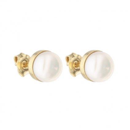 Pozlacené náušnice EMILY perla bílá EY837