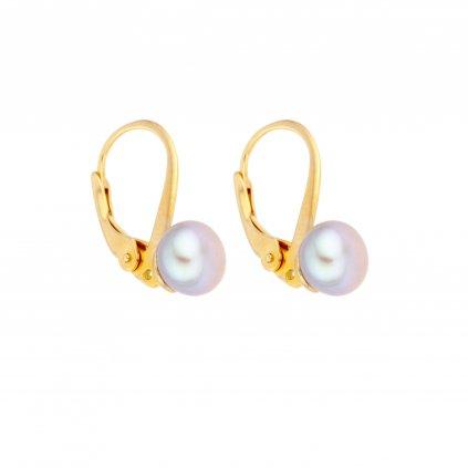 Pozlacené perlové náušnice EMMA perla AA šedá EM310 Perlomanie