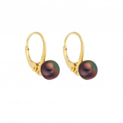 Pozlacené perlové náušnice EMMA perla AA černá EM313 Perlomanie